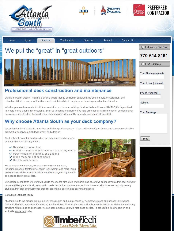 Web Content: Deck Construction