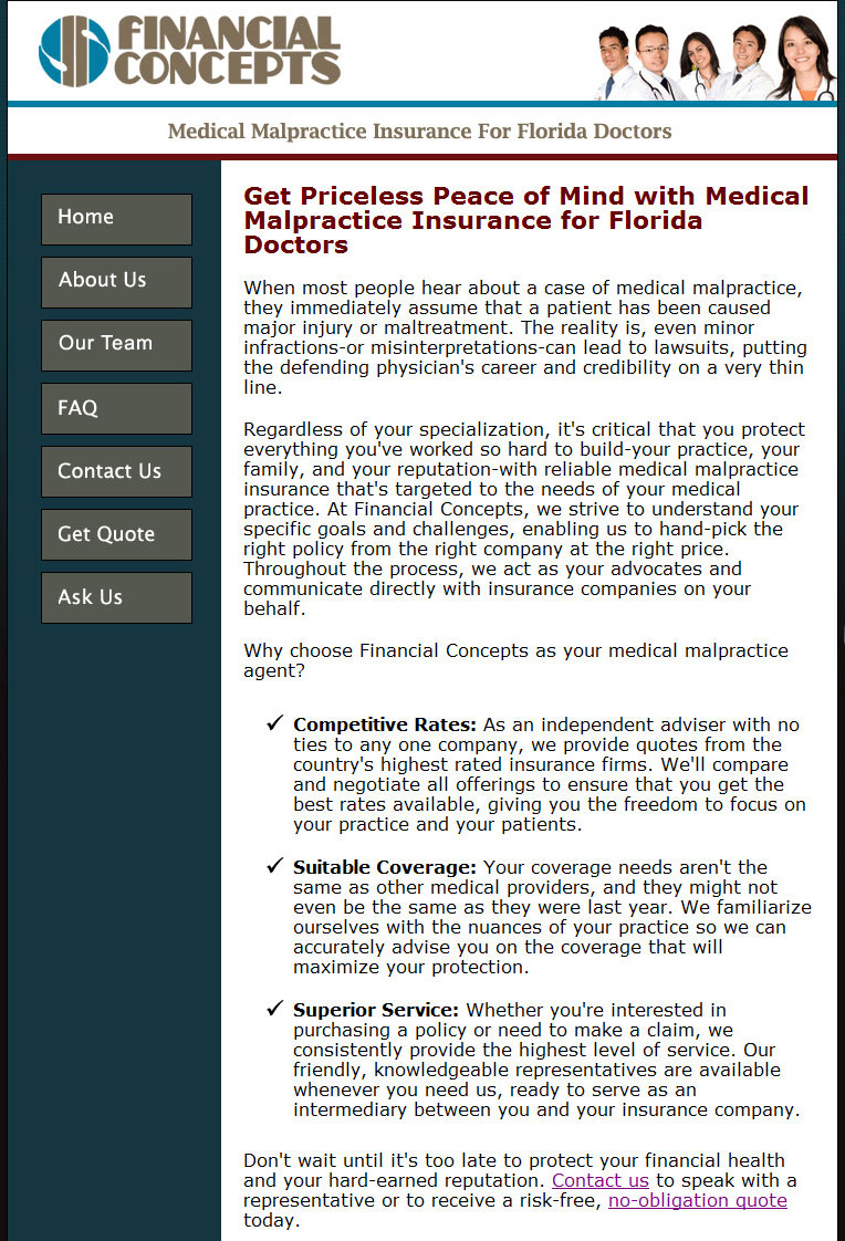 Home Page Copy: Medical Malpractice Insurance