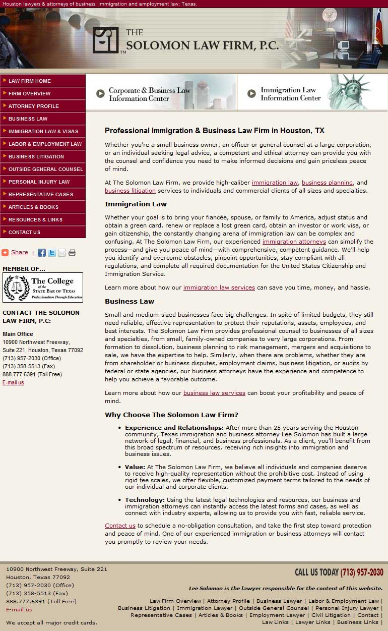 Home Page Copy: Immigration Law