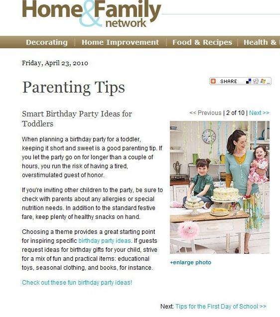 Parenting Article: Birthday Party Ideas