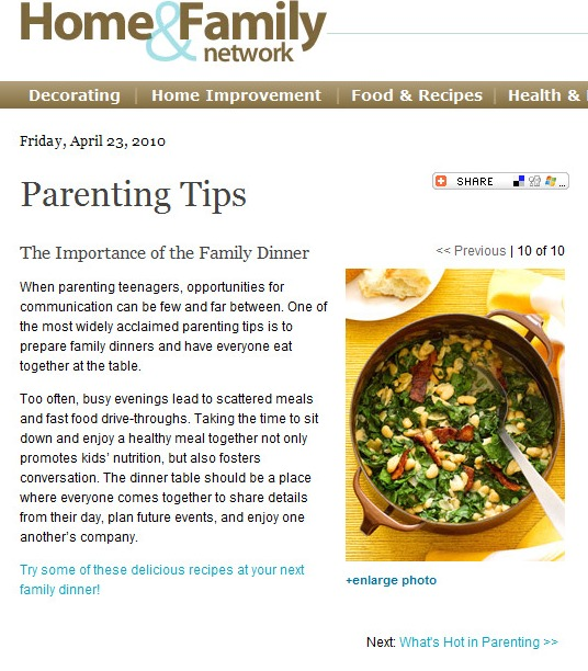 Food Articles: The Importance of Family Dinner