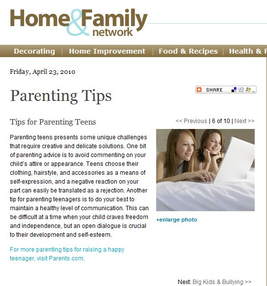 Parenting Article: Tips for Parenting Teens