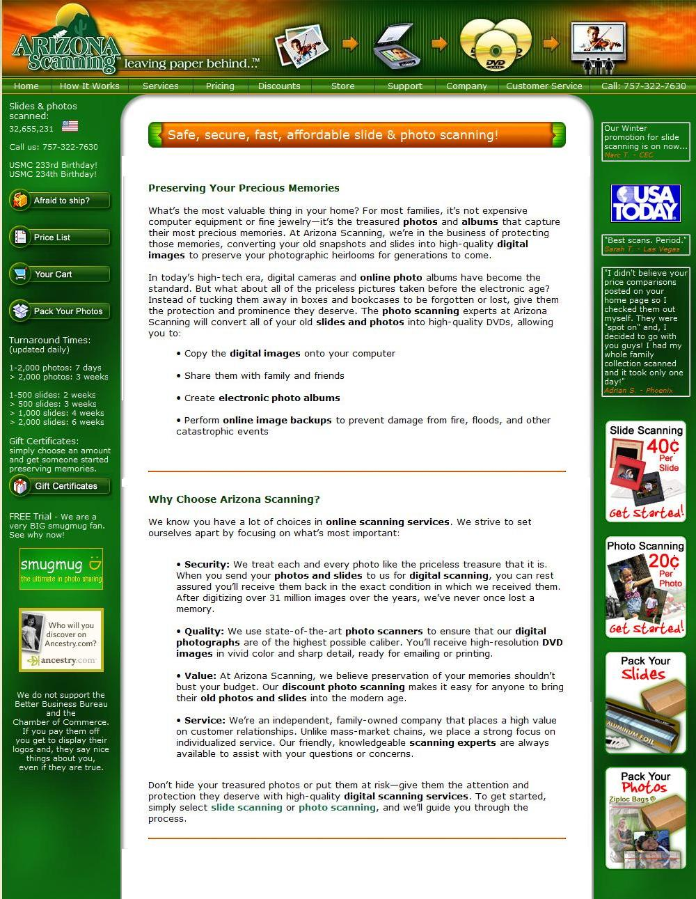 Home Page Copy: Arizona Scanning