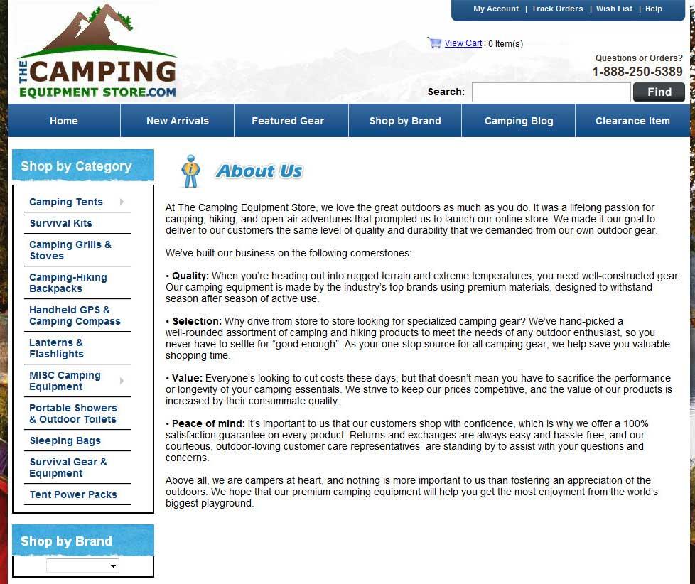 Web Copy: Camping Gear