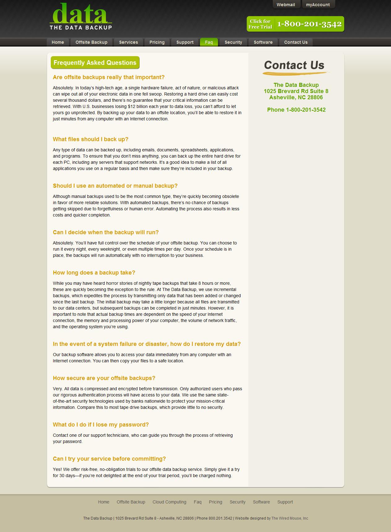 Web Content: Data Backups