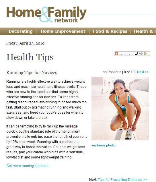 Fitness Article: Running Tips for Novices