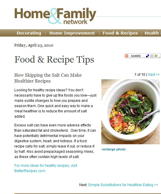 Food article skipping the salt for health words by for Articles cuisine